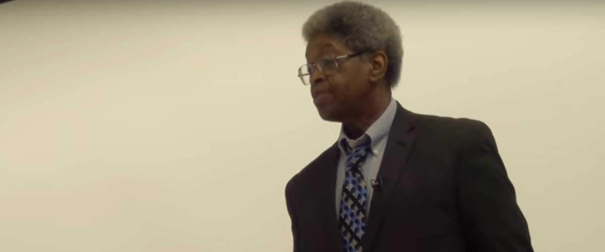 "Portland Community College Professor James Harrison giving a lecture entitled, ""Imagine A World Without Whiteness."" Screengrab/YouTube"