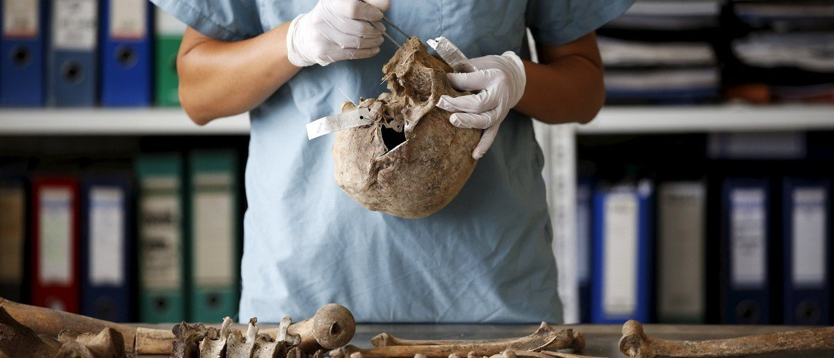 Senior Forensic Anthropologist Dragana Vucetic of the International Commission on Missing Persons (ICMP) works to attempt to identify the remains of a victim of the Srebrenica massacre, at the ICMP centre near Tuzla, Bosnia and Herzegovina, June 11, 2015. On Saturday, Bosnia marks the 20th anniversary of Europe's worst mass killing since World War Two - the slaughter of some 8,000 Muslim men and boys by Bosnian Serb forces during five July days in 1995. Even now, the forests and farmland around Srebrenica are yielding bones; over 1,000 victims are missing, tossed into pits then dug up months later and scattered in smaller graves by Bosnian Serb forces trying to conceal the crime. Picture is taken June 11, 2015. REUTERS/Dado Ruvic