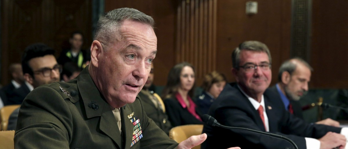 Joint Chiefs Chairman Joseph Dunford testifies with U.S. Defense Secretary Ash Carter before a Senate Appropriations Defense Subcommittee hearing on the Defense Department's FY2017 budget in Washington, U.S. April 27, 2016. REUTERS/Yuri Gripas
