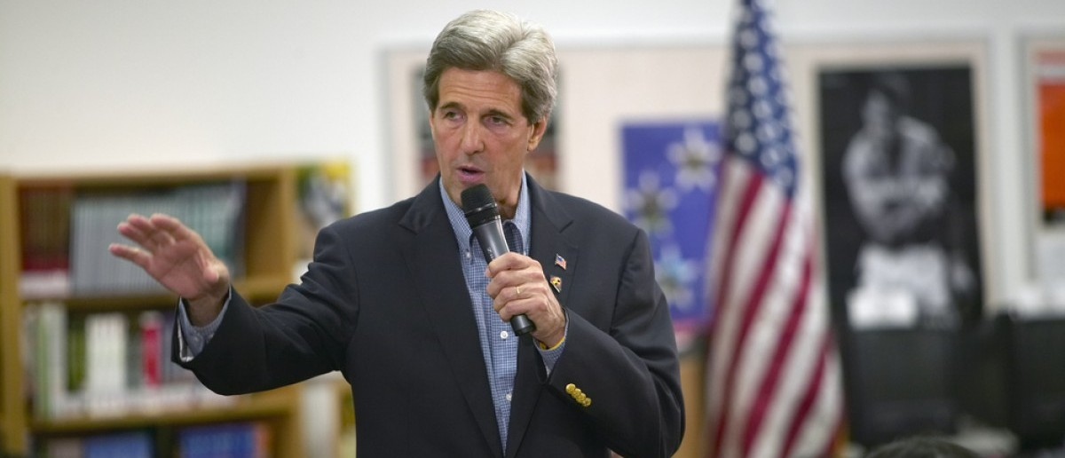 AUGUST 2004 - Senator John Kerry speaking to audience at the Ralph Cadwallader Middle School, Las Vegas, NV (Joseph Sohm / Shutterstock.com)