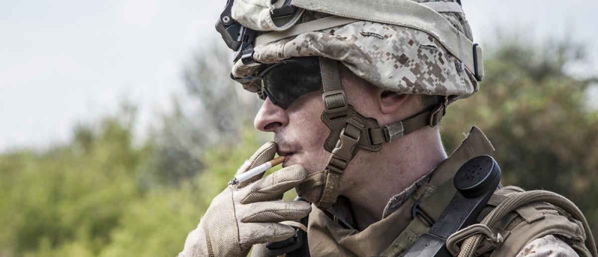 Soldier smoking (Credit: Oleg Zabielin/Shutterstock)