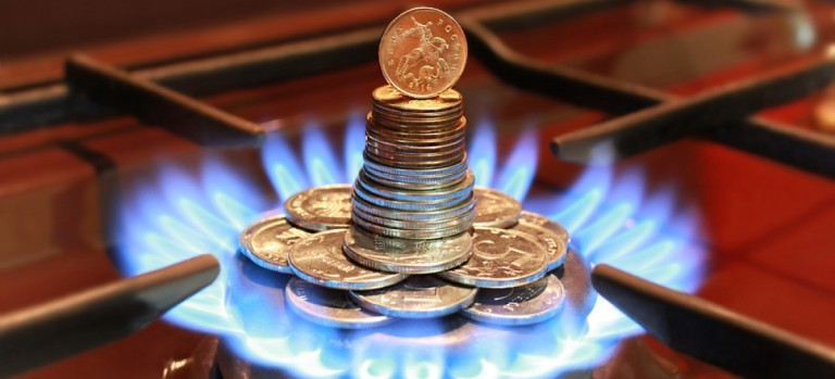 Gas burner with Russian coins (Credit linavita/Shutterstock.com)