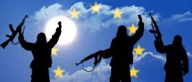Silhouette of military soldier with EU flag in the background. (Shutterstock)