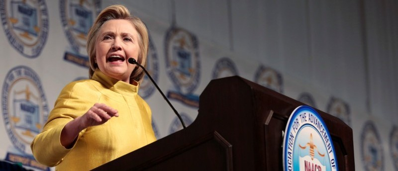 Democratic presidential candidate Hillary Clinton addresses the attendees of the 61st Annual NAACP 'Fight For Freedom Fund Dinner' in Detroit