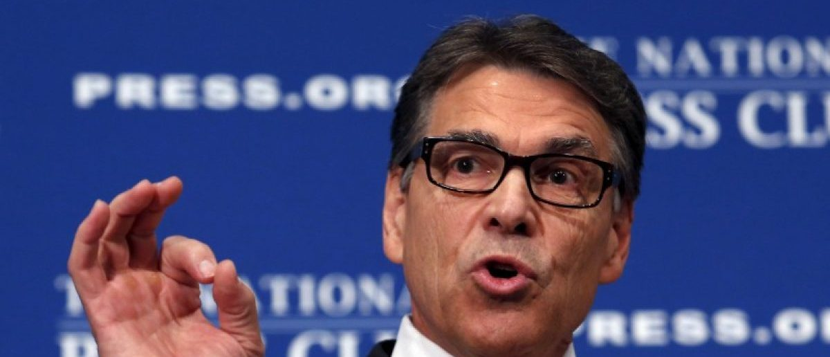 Former Texas Gov. Rick Perry discusses his economic plan at a National Press Club luncheon speech in Washington