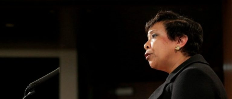 Attorney General Loretta E. Lynch announces law enforcement action against the state of North Carolina in Washington, U.S., May 9, 2016. REUTERS/Joshua Roberts