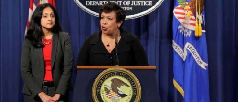 Attorney General Loretta E. Lynch (R) and Principal Deputy Assistant Attorney General Vanita Gupta, head of the Civil Rights Division, announce law enforcement action against the state of North Carolina in Washington, U.S., May 9, 2016