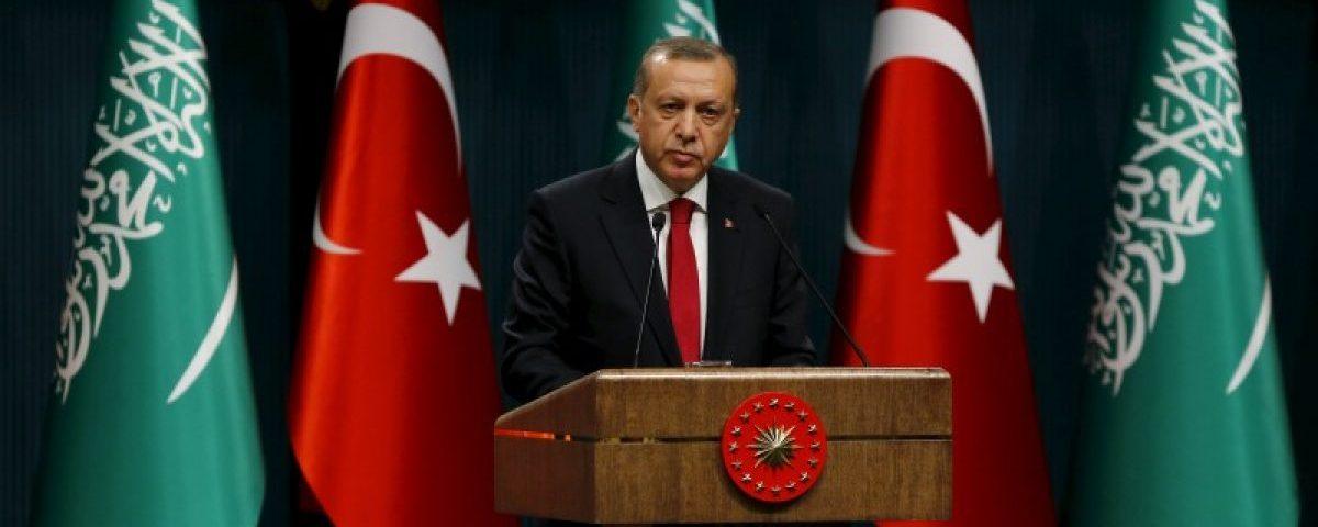 Turkey's President Tayyip Erdogan speaks during a ceremony to present a state medal to Saudi King Salman in Ankara, Turkey April 12, 2016. REUTERS/Umit Bektas