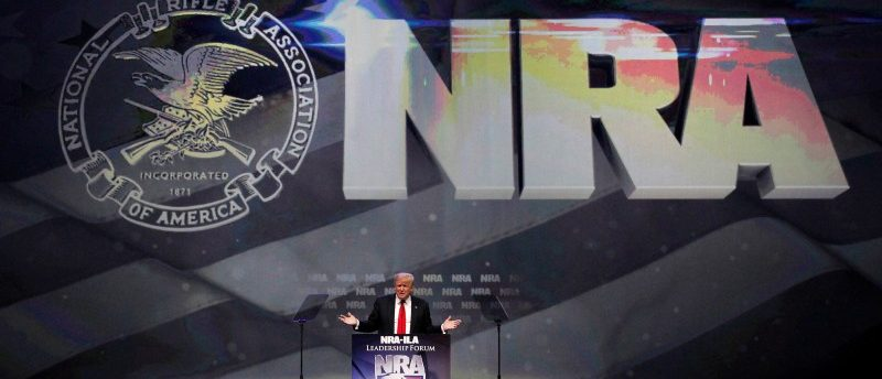 Republican presidential candidate Donald Trump attends the National Rifle Association's NRA-ILA Leadership Forum during their annual meeting in Louisville