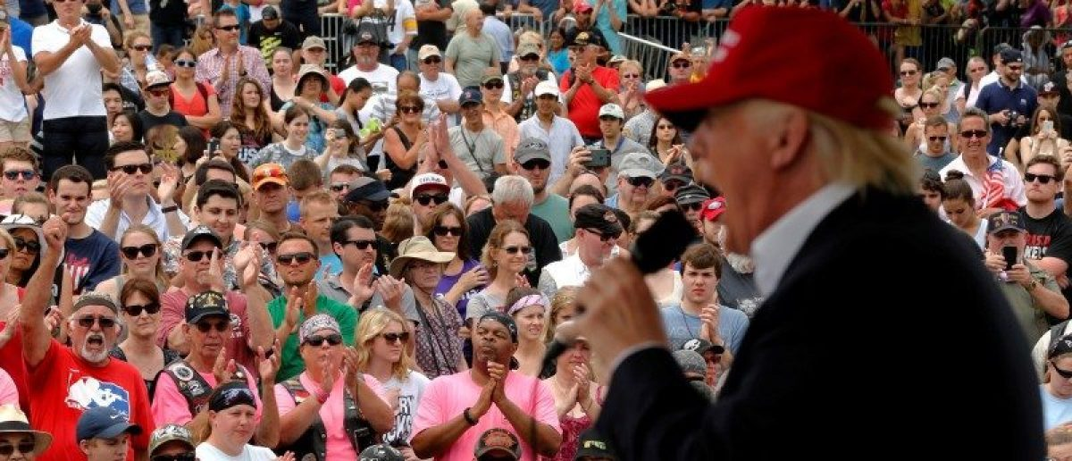 Republican U.S. presidential candidate Donald Trump addresses the Rolling Thunder motorcycle rally to highlight POW-MIA issues on Memorial Day weekend in Washington, U.S. May 29, 2016.  REUTERS/Jonathan Ernst
