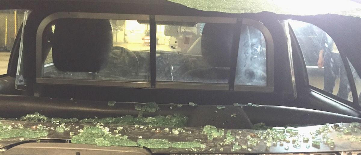 Back windshield, Courtesy Orange County Sheriff's Department