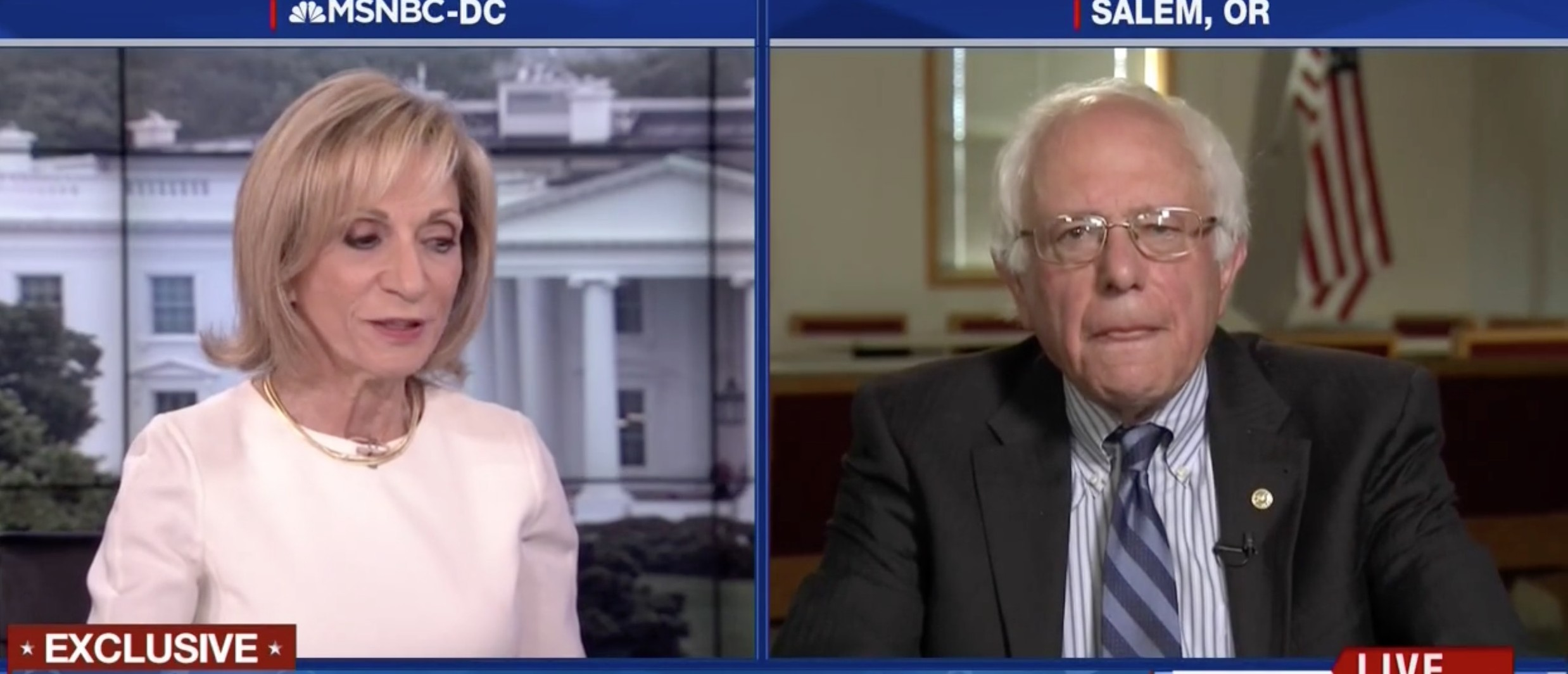 Bernie Sanders, Andrea Mitchell, Screen Shot MSNBC, 5-11-2016