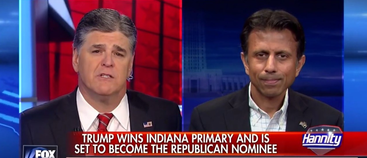 Bobby Jindal, Sean Hannity, Screen Shot Fox News, 5-3-2016