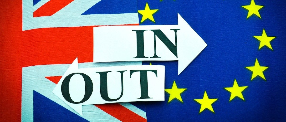 Brexit UK EU referendum concept with flags and topical message (Credit: Shutterstock/Lucian Milasan)