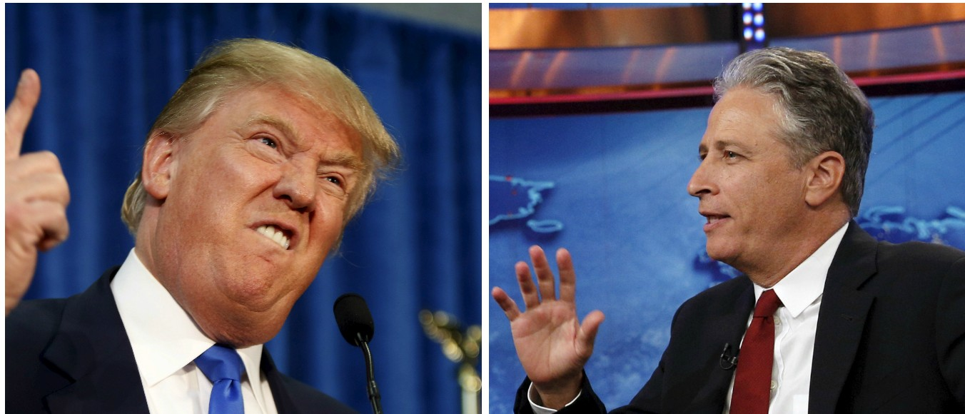 Donald Trump, Jon Stewart, Images via Reuters, RTX1GZCO, TTX1L9NS