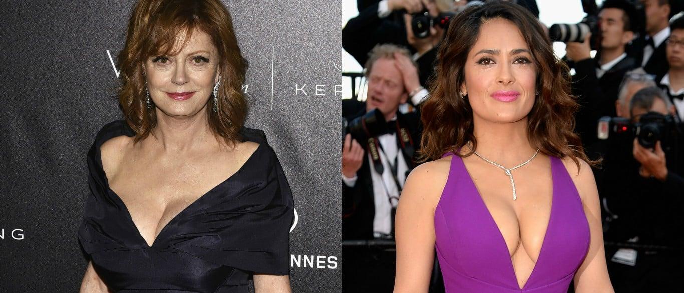 Susan Sarandon and Salma Hayek compare cleavage sizes