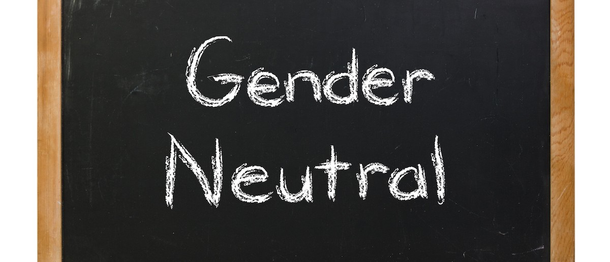 Gender neutral written in white chalk on a black chalkboard isolated on white