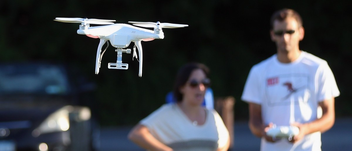 A drone is flown for recreational purposes in the sky above Syosset, New York on August 30, 2015.  (Bruce Bennett/Getty Images)