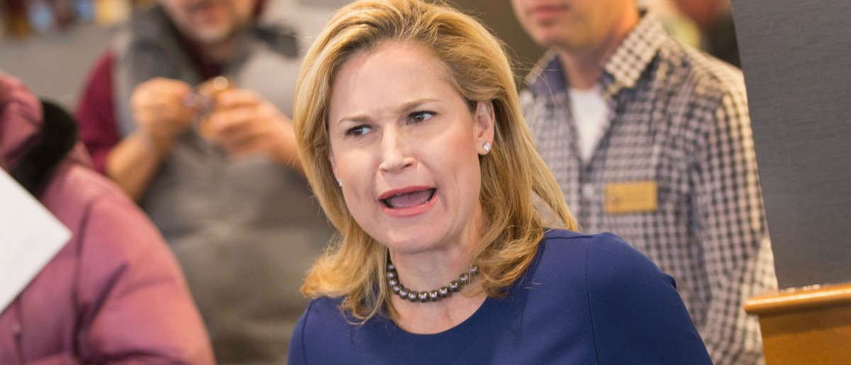 Heidi Cruz, the wife of Republican presidential candidate Sen. Ted Cruz (R-TX), speaks to guests during a campaign stop at a Culver's restaurant on March 23, 2016 in Sturtevant, Wisconsin. (Photo by Scott Olson/Getty Images)