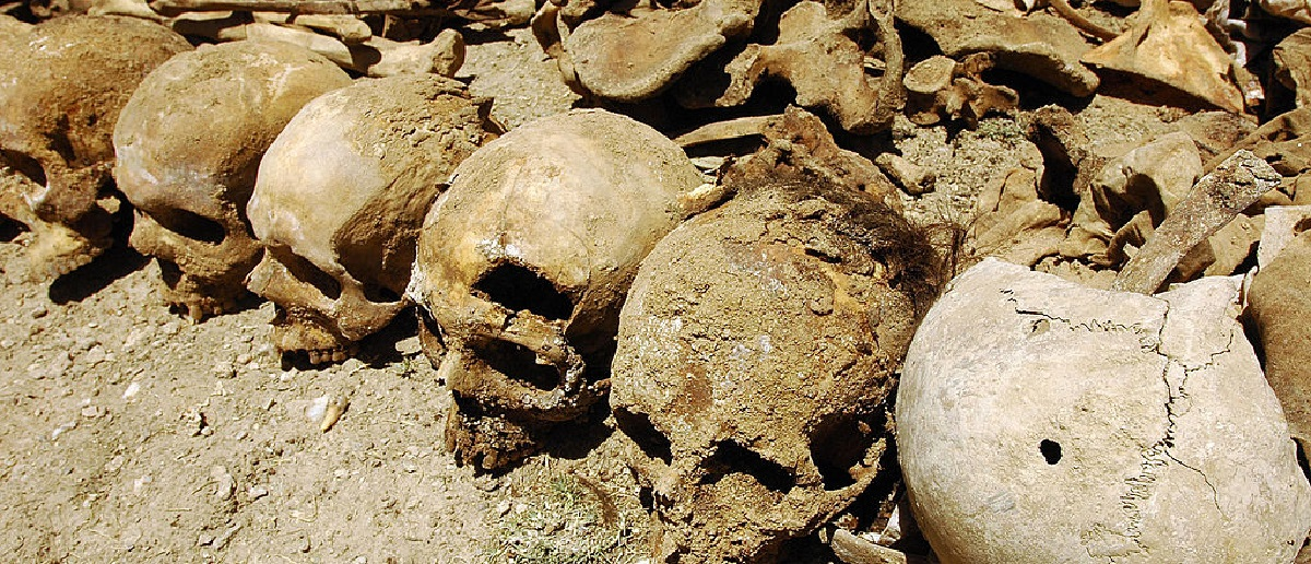 Bones from a suspected mass grave in Afghanistan. [Massoud Hossaini/Getty Images]