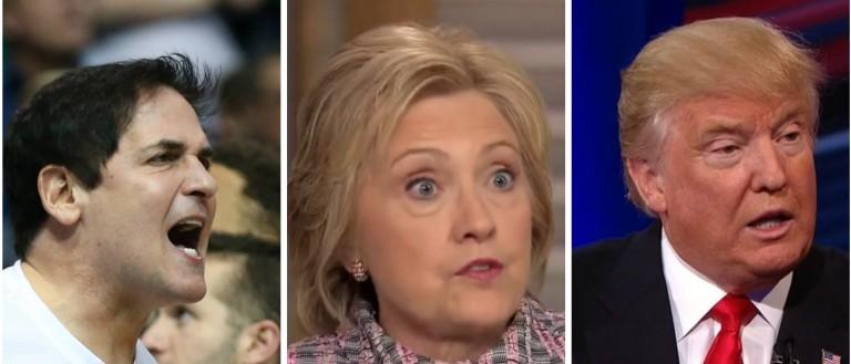 Mark Cuban, Hillary Clinton, Donald Trump, Images via Reuters RTSBDMN, Screen Grab NBC, CNN