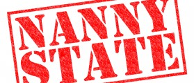 NANNY STATE red Rubber Stamp over a white background