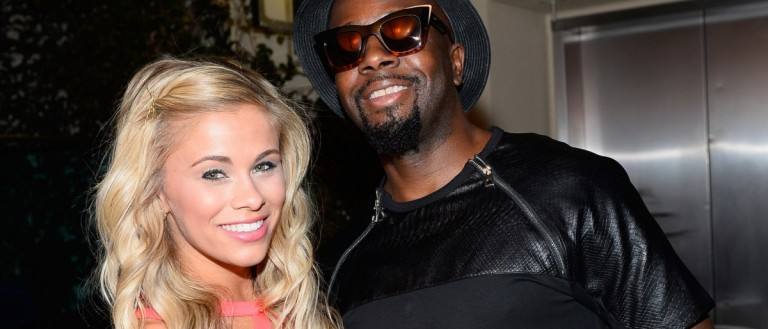MMA fighter Paige VanZant and singer/songwriter Wyclef Jean at The Boulevard Pool at The Cosmopolitan of Las Vegas on July 9, 2015