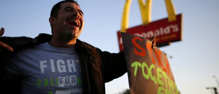 Striking McDonald's worker (REUTERS/Lucy Nicholson)