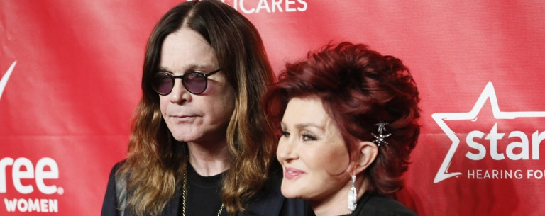 Ozzy Osbourne (L) and Sharon Osbourne (R) pose at the 2014 MusiCares Person of the Year gala honoring Carole King in Los Angeles, January 24, 2014. The tribute will benefit MusiCares' emergency financial assistance and addiction recovery programs. REUTERS/Danny Moloshok (UNITED STATES - Tags: ENTERTAINMENT) - RTX17TGN