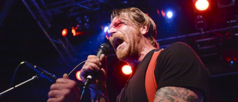 Singer of Eagles of Death Metal, Jesse Hughes, is pictured at the concert at Debaser Medis in Stockholm, Sweden, February 13, 2016. The concert in Stockholm is the band's first after the Bataclan terror attack in Paris in November.  REUTERS/Vilhelm Stokstad/TT News Agency