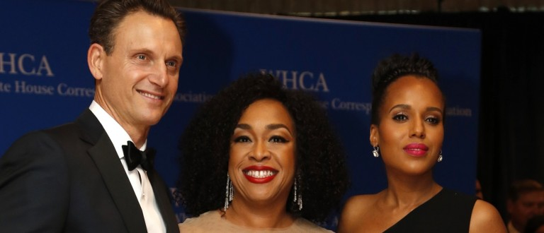 Actor Goldwyn, producer Rhimes and actress Washington arrive on the red carpet for the annual White House Correspondents Association Dinner in Washington
