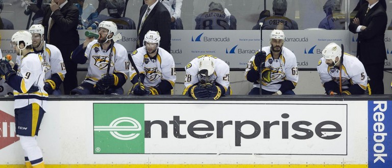 May 12, 2016; San Jose, CA, USA; Nashville Predators center Paul Gaustad (28) reacts on the bench after being defeated in game seven of the second round of the 2016 Stanley Cup Playoffs at SAP Center. The San Jose Sharks defeat the Nashville Predators 5 to 0. Mandatory Credit: Neville E. Guard-USA TODAY Sports - via Reuters