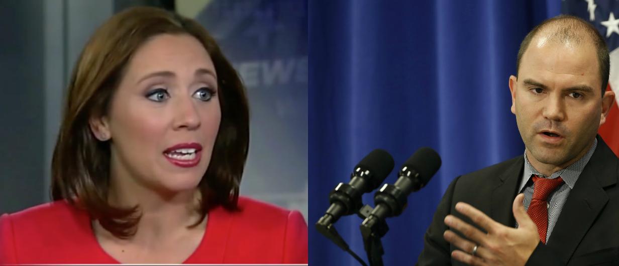 AP's Julie Pace and national security adviser Ben Rhodes (Left photo: Screen shot Fox/Right photo: Reuters, Kevin Lamarque)
