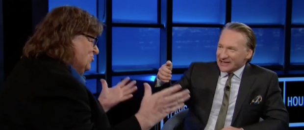 """Michael Moore on """"Real Time with Bill Maher."""" (Screen shot HBO)"""