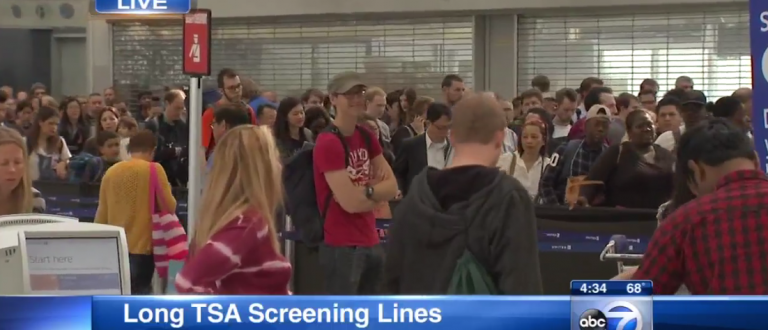 TSA Screening Lines at O'Hare (Video Screen capture - ABC 7 Chicago)