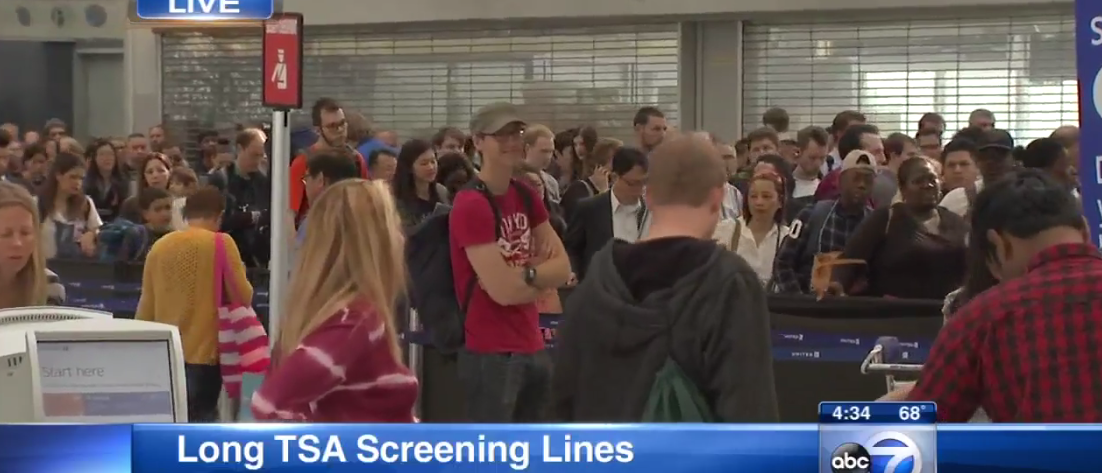 TSA Screening Lines at O'Hare (Video Screen capture - ABC 7 Chicago)