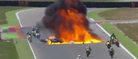Moto2 wreck ends in huge explosion (screenshot: NBCSN Twitter)