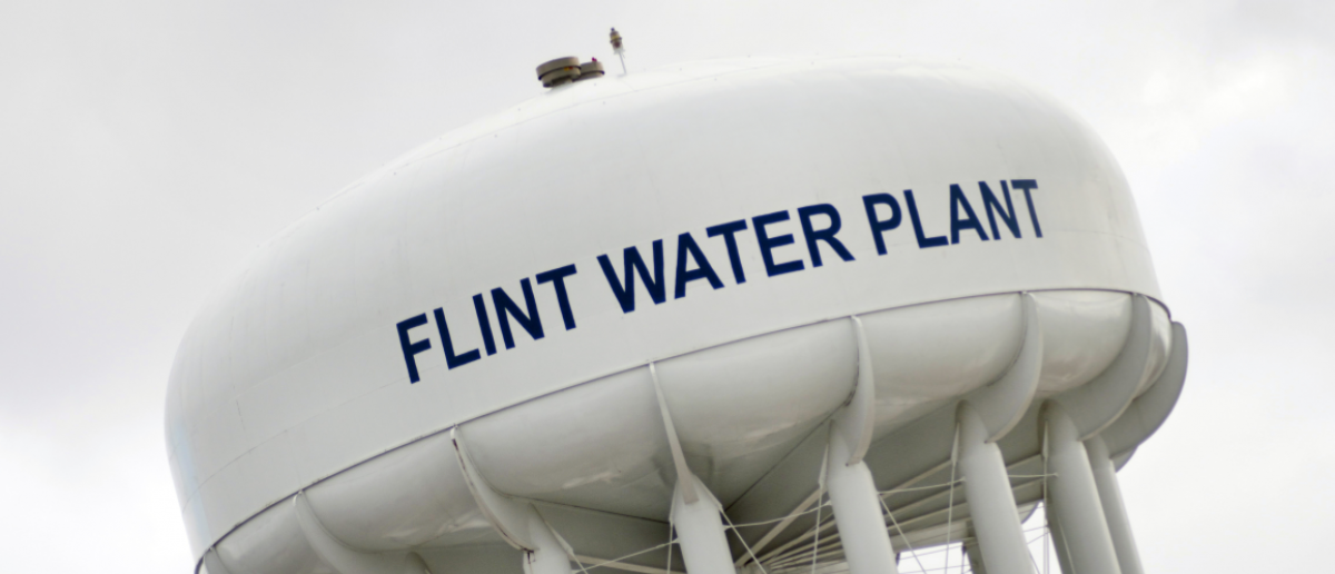 January 23, 2016: Water Tower At Flint Water Plant In Flint, January 23, 2016, Flint, Michigan (Linda Parton / Shutterstock.com)