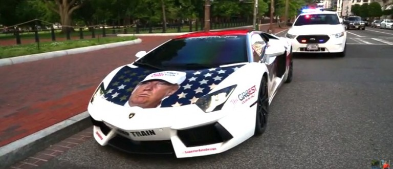 'Trump Train' -- Total Bro Parks Donald-Themed Lambo Outside White House (YouTube)
