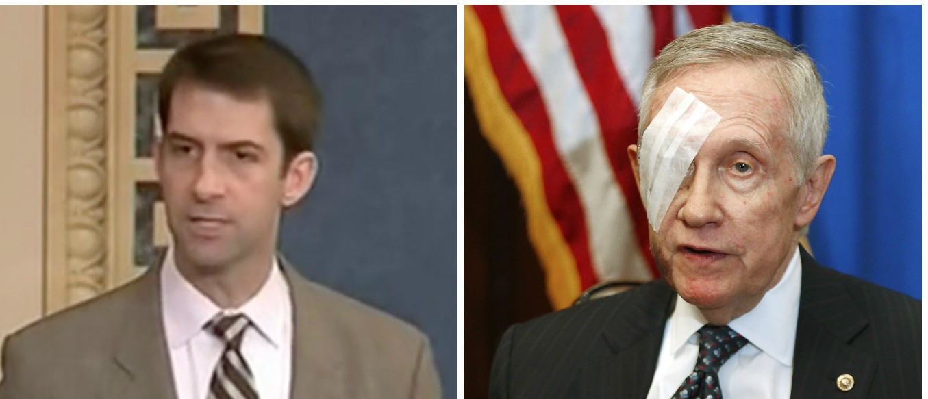Sen. Tom Cotton, Harry Reid, Screen Shot CSPAN2, Reuters