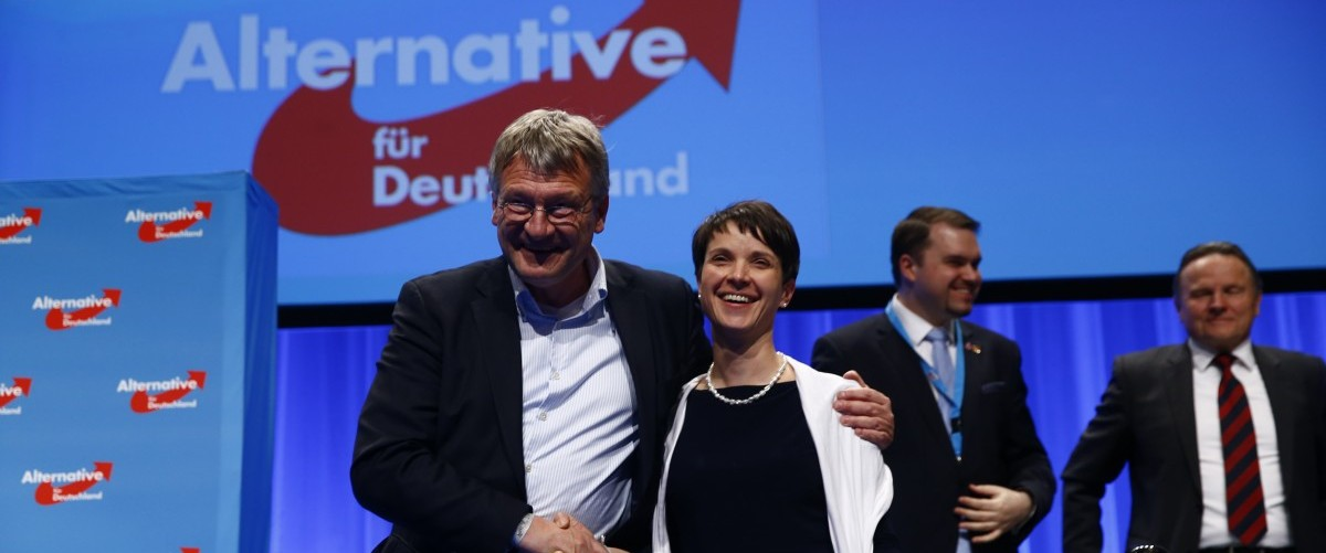 Frauke Petry, chairwoman of the anti-immigration party Alternative for Germany (AfD), and AfD leader Joerg Meuthen stand at the end of the second day of the AfD congress in Stuttgart, Germany, May 1,  2016. REUTERS/Wolfgang Rattay.