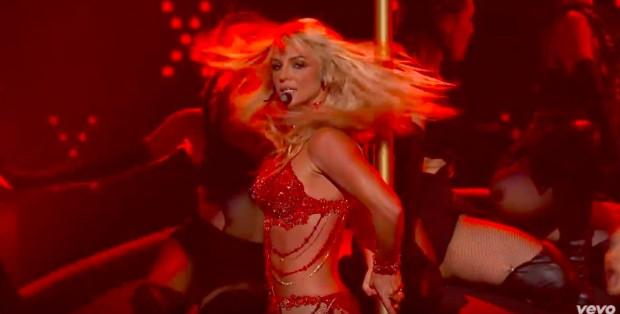 Britney Spears dancing on a stripper pole