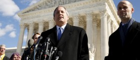 Texas Attorney General Ken Paxton addresses reporters on the steps of the U.S. Supreme Court in Washington