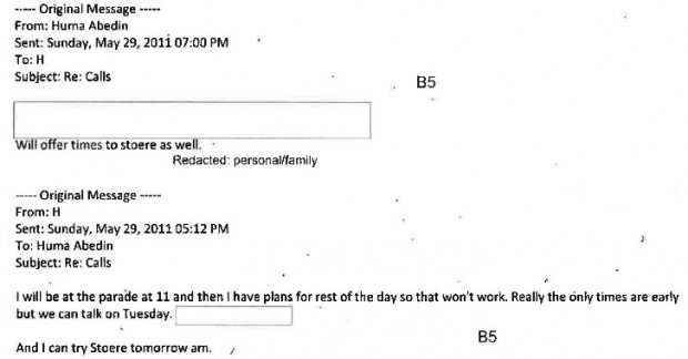 Abedin and Clinton email exchange from May 29, 2011.