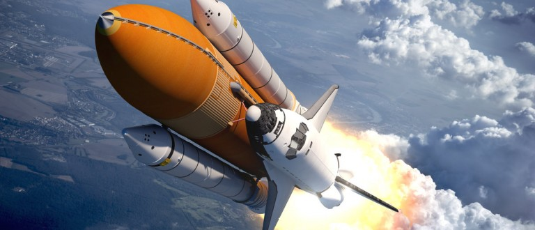 Space Shuttle Flying Over The Clouds. Shutterstock.com/ 3Dsculptor