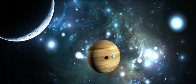 Extrasolar planet. Gas giant with moons.(Shutterstock)