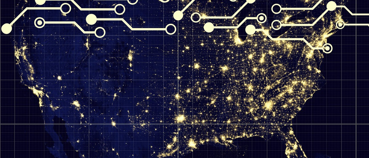Modern USA by night- Elements of this image furnished by NASA. Shutterstock.com/Juergen Faelchle