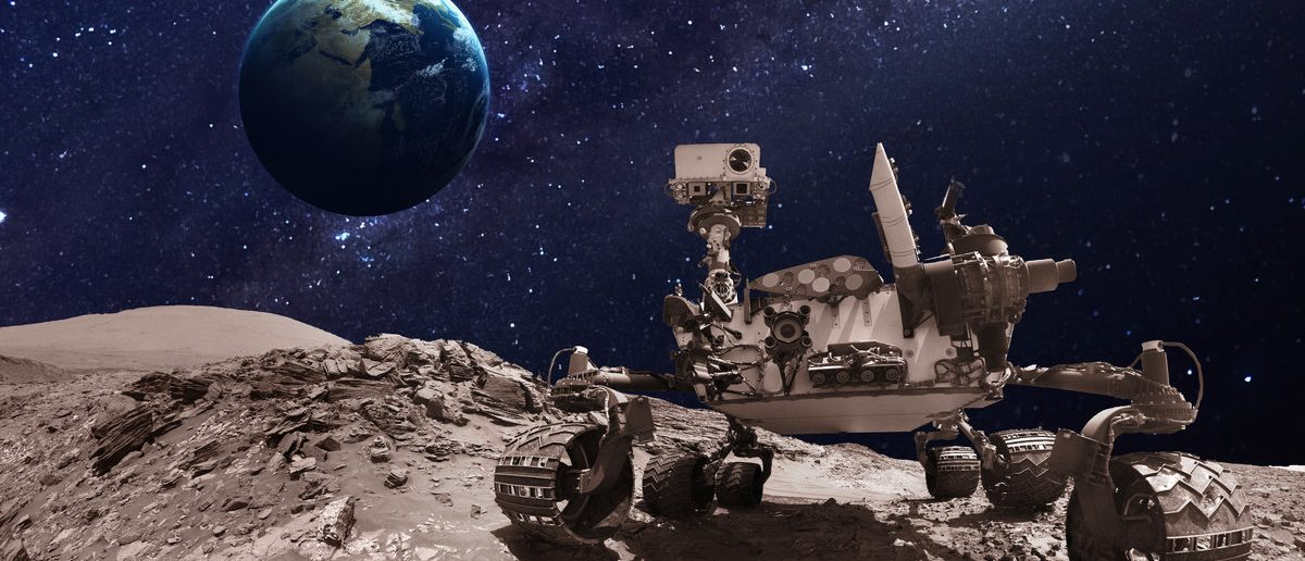 Mars rover. Elements of this image furnished by NASA. (Shutterstock.com/Vadim Sadovski)