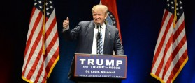 Donald Trump shows the thumbs-up to supporters at the Peabody Opera House in Downtown Saint Louis. Saint Louis, MO, USA - March 11, 2016 Gino Santa Maria / Shutterstock.com
