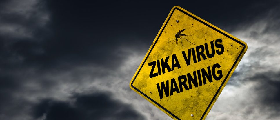 Zika virus warning sign against a stormy background with dirty and angled sign for drama. Shutterstock.com / Ronnie Chua